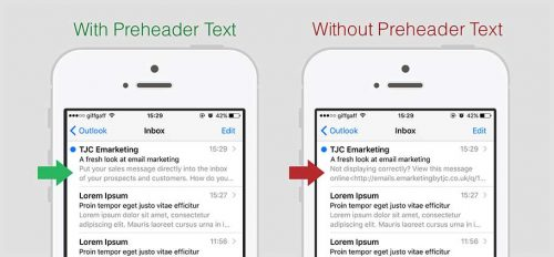 An example of an email with and without preheader text - How to write great preheader text.